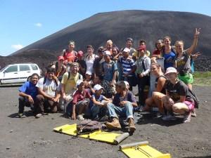 QT volunteers and Chavaladas street kids on cerro negro